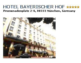 HOTEL BAYRISCHER HOF***** - With over 150 years of tradition, the hotel reflects high service standard with modern techniques, all in keeping with the individual, traditional and noble atmosphere.You can take your breakfast over the roofs of Munich. Double room with bath/shower/WC breakfast buffet: