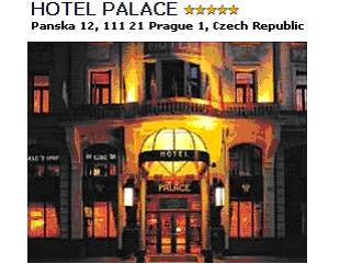 HOTEL PALACE***** - Hotel Palace Praha offers 124 luxury, fully air-conditioned rooms, including suites, for single or double occupancy. All rooms are furnished with period furniture, a colour television set with satellite programming, prepaid television channels and access to the internet. The rooms are further equipped with a minibar, a safe, 2 direct-dial telephones and the option of connection a fax or a computer. The bathrooms are lined with Carrara marble and of a Art Nouveau design. Double room with bath/shower/WC breakfast buffet