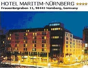 HOTEL MARITIM-NÜRNBERG**** - Comfortable domicile of generous proportions, just a stone's throw from the beautiful Old Town. Hall with stage and flexible dance floor for 860 people. Double Room deluxe with Bath/Shower/Wc incl. Breakfast